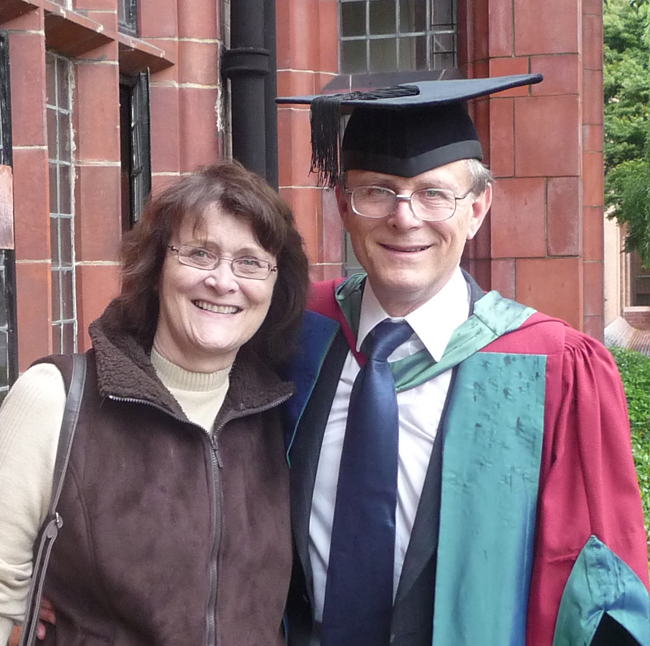 My wife Margaret and I after my PhD award in the Philosophy of Art at Cardiff University in 2009.