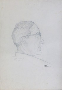 Dr Douglas Fraser portrait pencil
