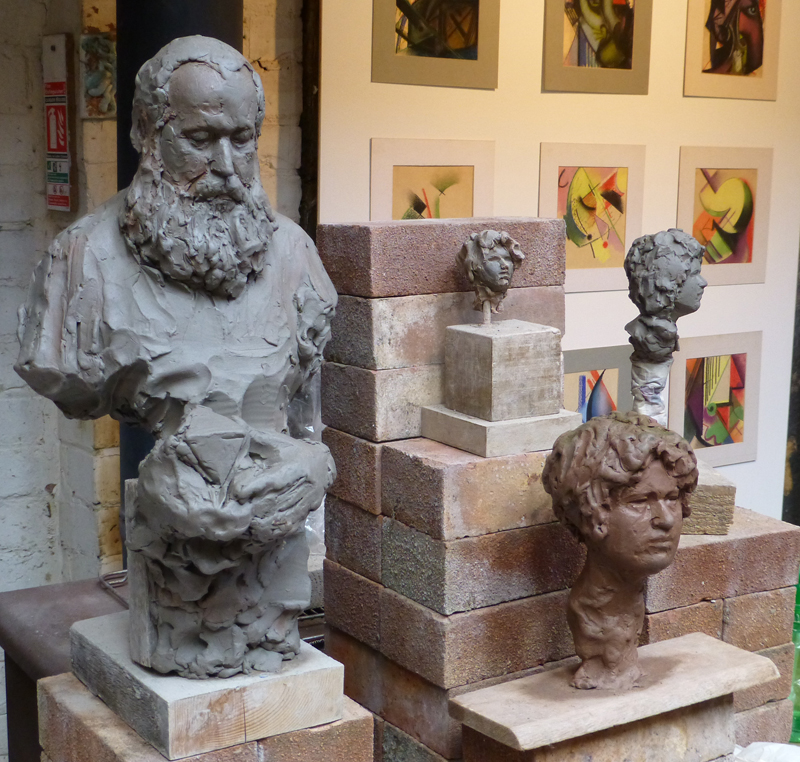 Sculpture and drawings by Simon Britton in the 'Old Bakery' Studio.